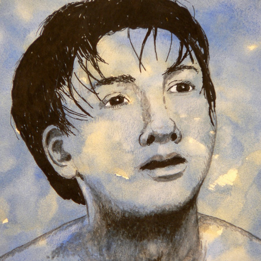 portrait-boy-on-blue-wash-pen-and-ink-8-x-8